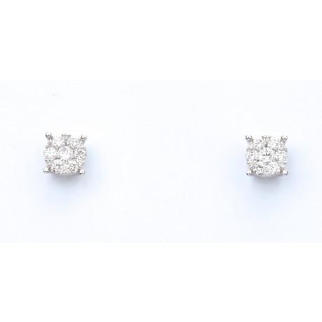 Pendientes oro blanco diamantes talla Engaste Invisible