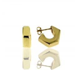 Pendientes Oro Amarillo Aro Hexagonal