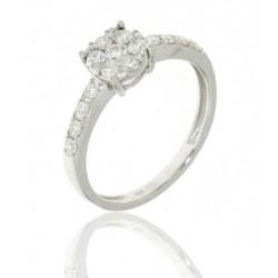 Sortija oro blanco con diamantes
