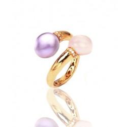 Sortija Oro Rosa Brillantes 0.08CT Amatista y Cuarzo Rosa