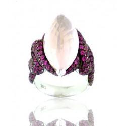 Sortija oro blanco con cuarzo rosa y zafiro rosa