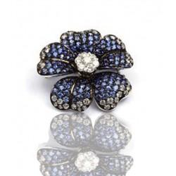 Broche oro blanco con diamantes y zafiros