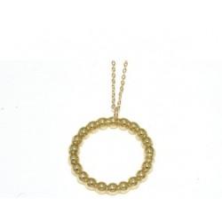 Colgante aro de oro amarillo con bolitas y cadena oro amarillo