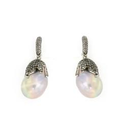Pendientes oro blanco brillantes y perla