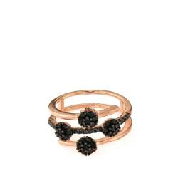 Sortija plata rosa piedras negras