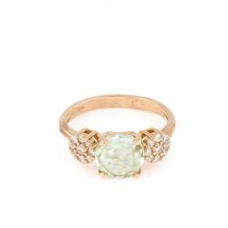 Sortija oro rosa de diamantes con amatista verde