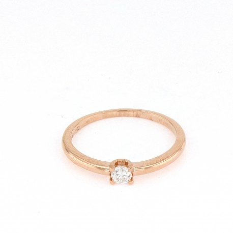 Solitario oro rosa y diamante en talla brillante